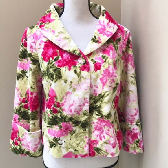 Anthropologie Odille Floral One Button Blazer